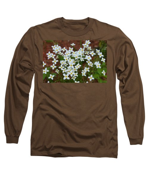 Long Sleeve T-Shirt featuring the digital art White Wildflowers by Barbara S Nickerson