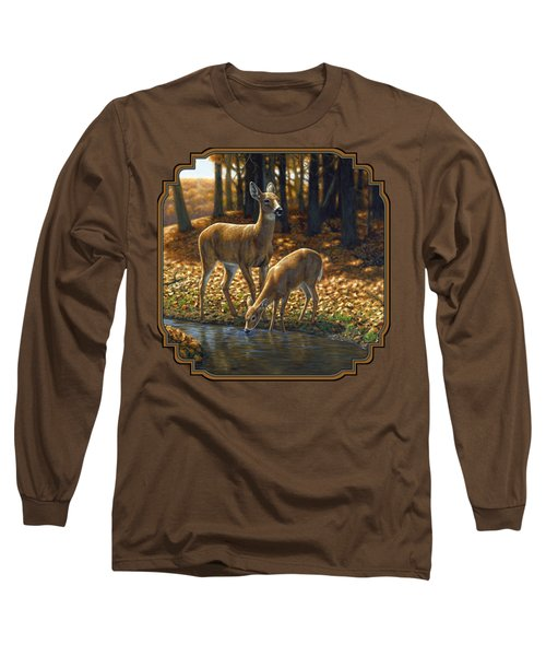 Whitetail Deer - Autumn Innocence 1 Long Sleeve T-Shirt by Crista Forest