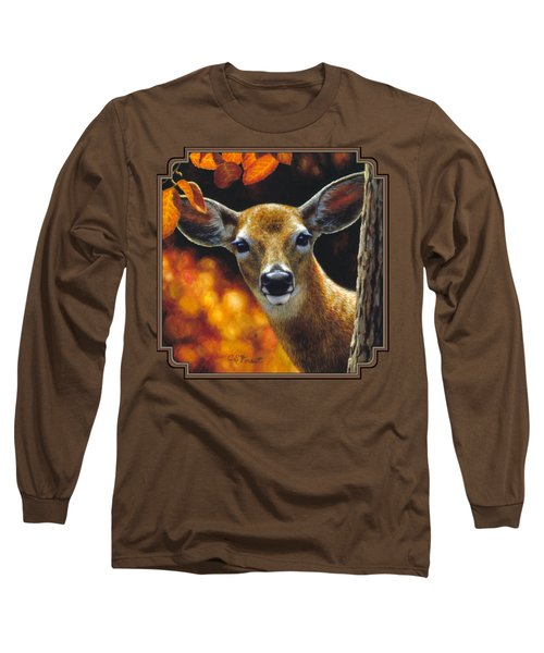 Whitetail Deer - Surprise Long Sleeve T-Shirt by Crista Forest