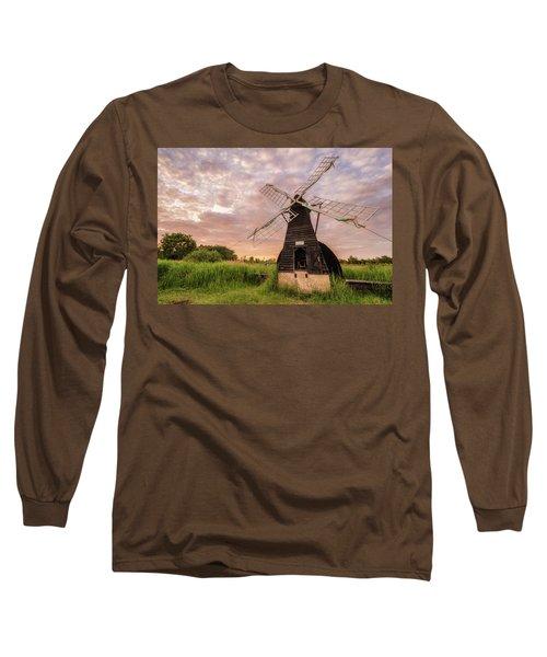Wicken Wind-pump At Sunset II Long Sleeve T-Shirt