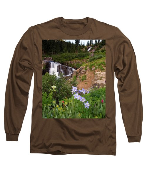 Long Sleeve T-Shirt featuring the photograph Wild Flowers And Waterfalls by Steve Stuller