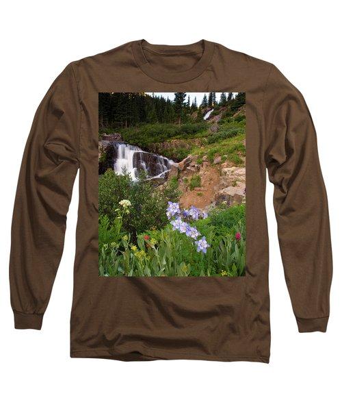 Wild Flowers And Waterfalls Long Sleeve T-Shirt by Steve Stuller