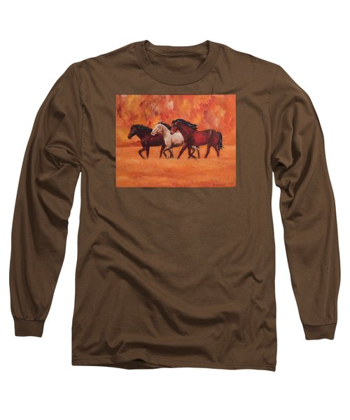 Long Sleeve T-Shirt featuring the painting Wild Horses by Ellen Canfield