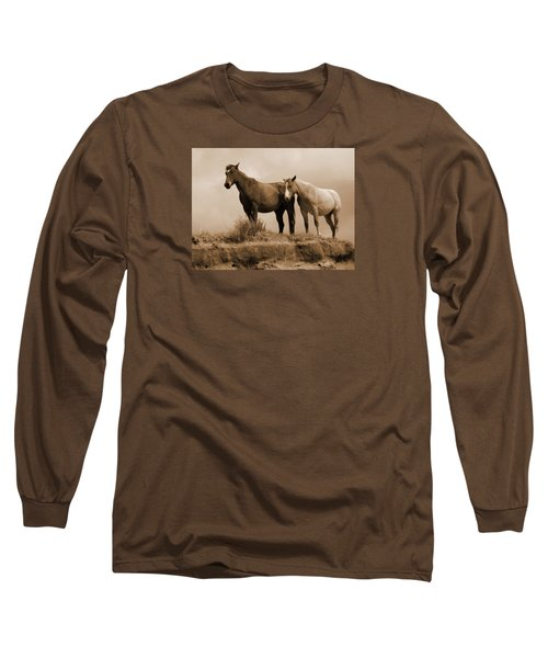 Wild Horses In Western Dakota Long Sleeve T-Shirt