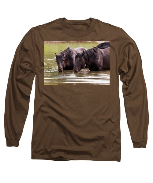 Wild Stallions At The Water Hole Long Sleeve T-Shirt