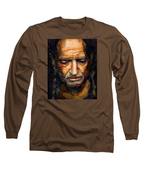 Willie Nelson Portrait 2 Long Sleeve T-Shirt by Laur Iduc