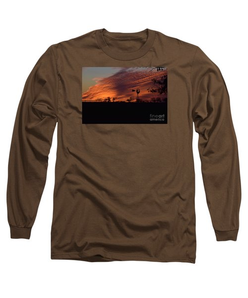 Windmill At Sunset Long Sleeve T-Shirt by Mark McReynolds
