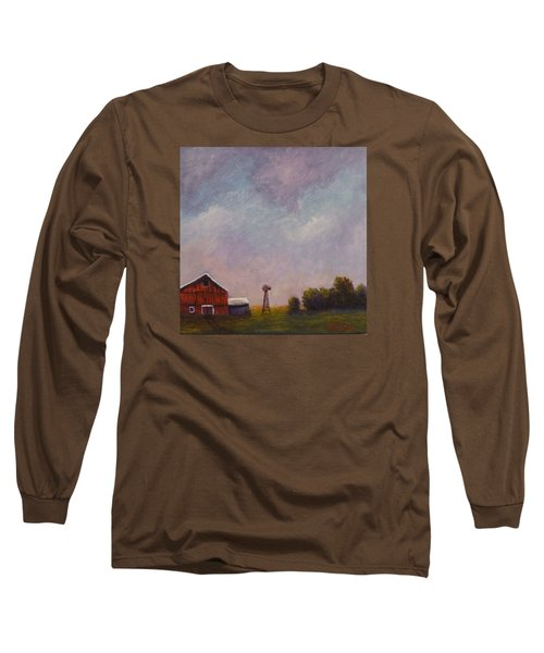 Long Sleeve T-Shirt featuring the painting Windmill Farm Under A Stormy Sky. by Dan Wagner