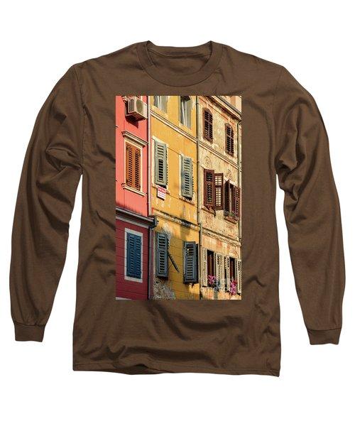 Windows Of Rovinj, Istria, Croatia Long Sleeve T-Shirt