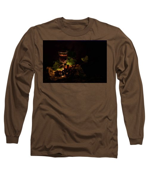 Wine Glass And Grapes Long Sleeve T-Shirt