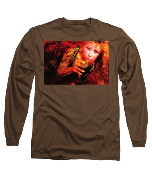Wine Woman And Fall Colors Long Sleeve T-Shirt