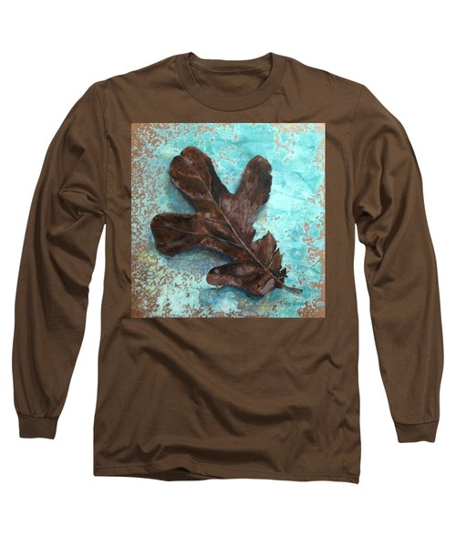 Winter Leaf Long Sleeve T-Shirt by T Fry-Green