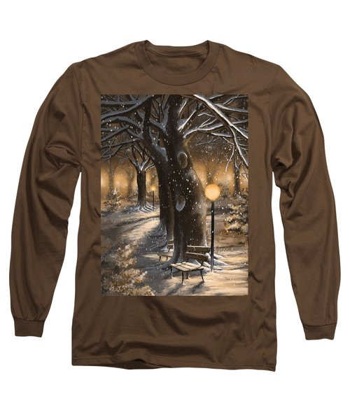 Long Sleeve T-Shirt featuring the painting Winter Magic by Veronica Minozzi