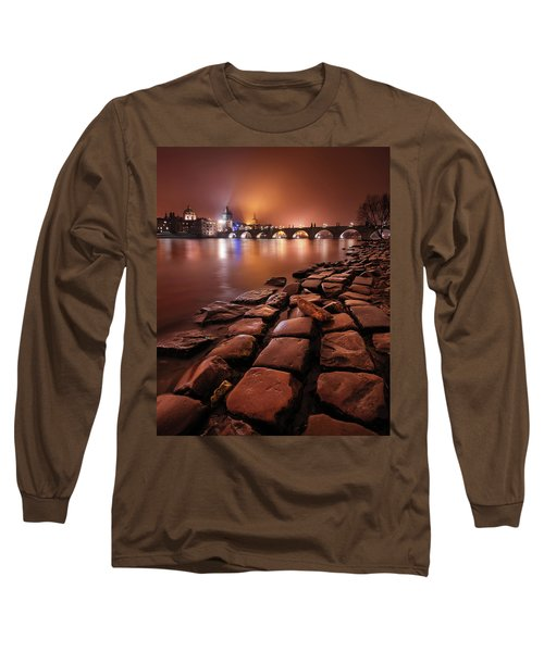 Winter Night Near Charles Bridge In Prague, Czech Republic Long Sleeve T-Shirt