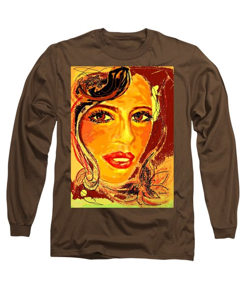 Long Sleeve T-Shirt featuring the digital art Woman by Desline Vitto