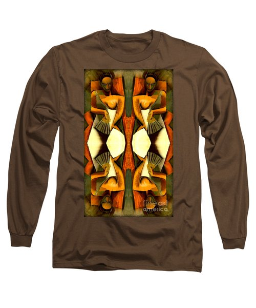 Woman With A Fan X4 Long Sleeve T-Shirt