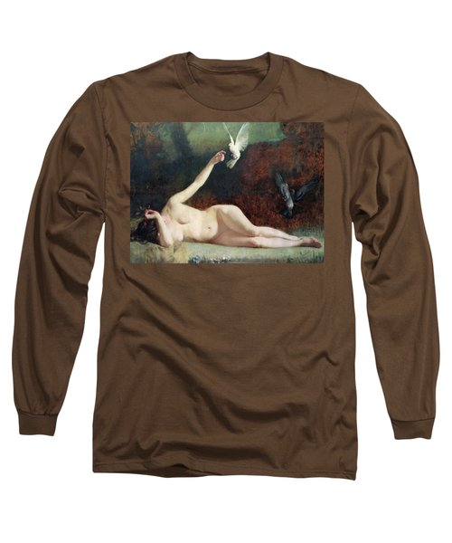 Woman With Pigeons Long Sleeve T-Shirt by Ernst Philippe Zacharie