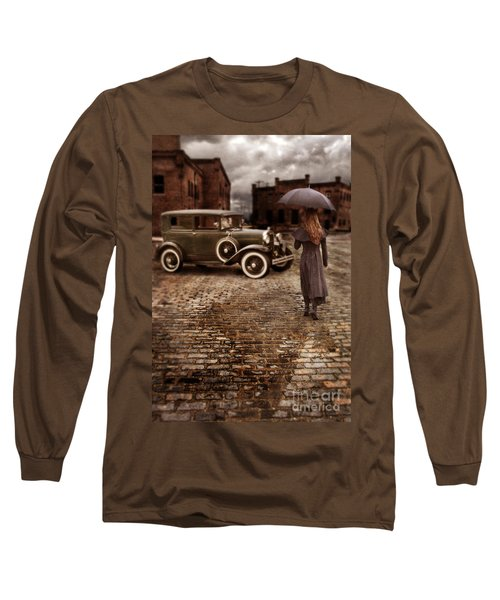 Woman With Umbrella By Vintage Car Long Sleeve T-Shirt