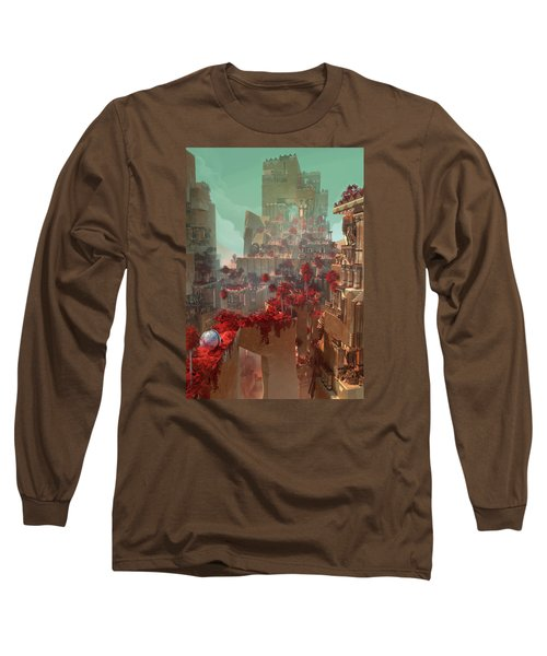 Wonders Hanging Garden Of Babylon Long Sleeve T-Shirt by Te Hu