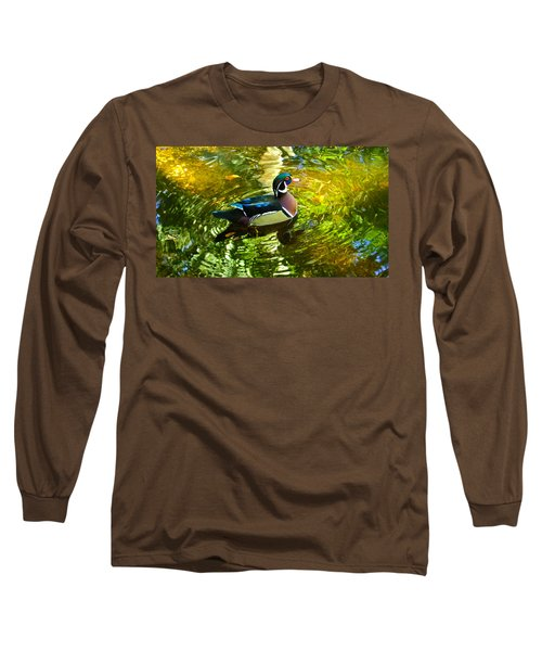 Wood Duck In Lights Long Sleeve T-Shirt