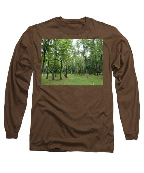 Woods At Lake Redman Long Sleeve T-Shirt by Donald C Morgan