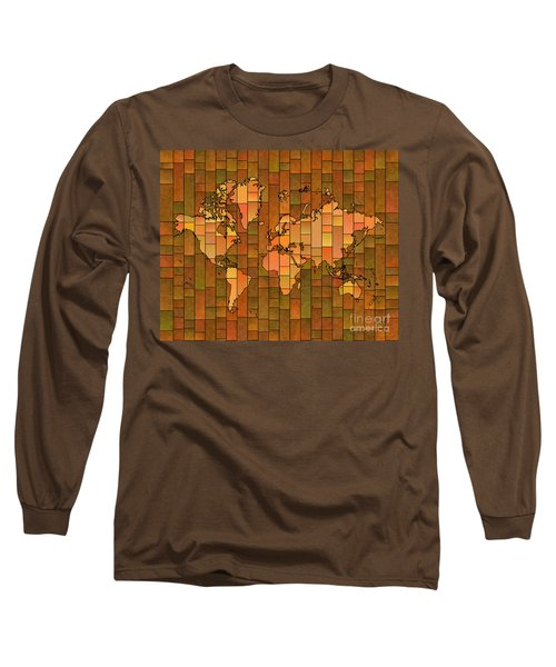 World Map Glasa Brown Orange Green Long Sleeve T-Shirt by Eleven Corners
