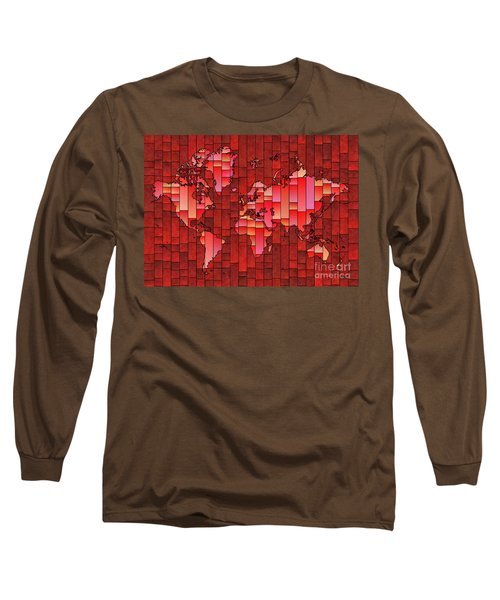 World Map Glasa Red Long Sleeve T-Shirt
