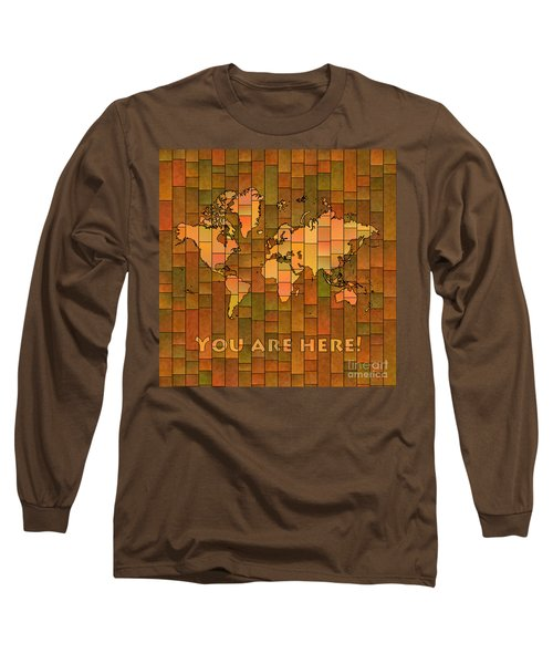 World Map Glasa You Are Here Brown Orange Green Long Sleeve T-Shirt