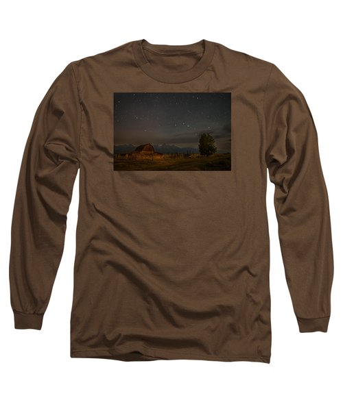 Wyoming Countryside At Night Long Sleeve T-Shirt by Serge Skiba