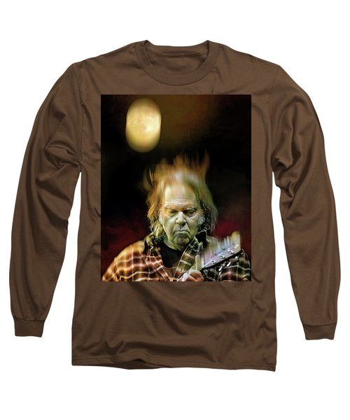 Yellow Moon On The Rise Long Sleeve T-Shirt by Mal Bray