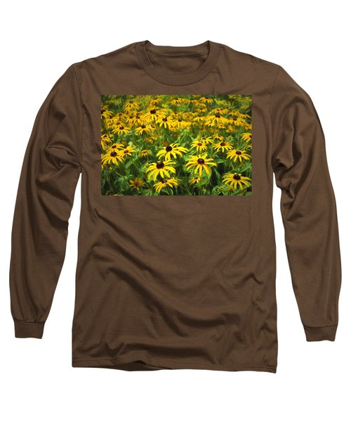 Yellow Painted Petals Long Sleeve T-Shirt by Terry Cork
