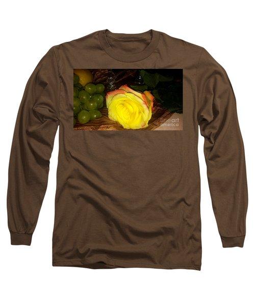 Yellow Rose And Grapes Long Sleeve T-Shirt
