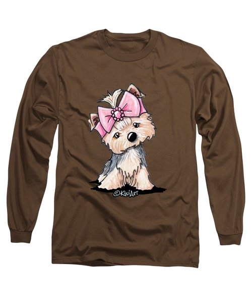 Yorkie In Bow Long Sleeve T-Shirt