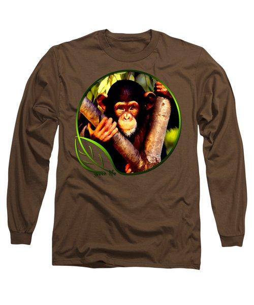 Young Chimpanzee Long Sleeve T-Shirt by Dan Pagisun