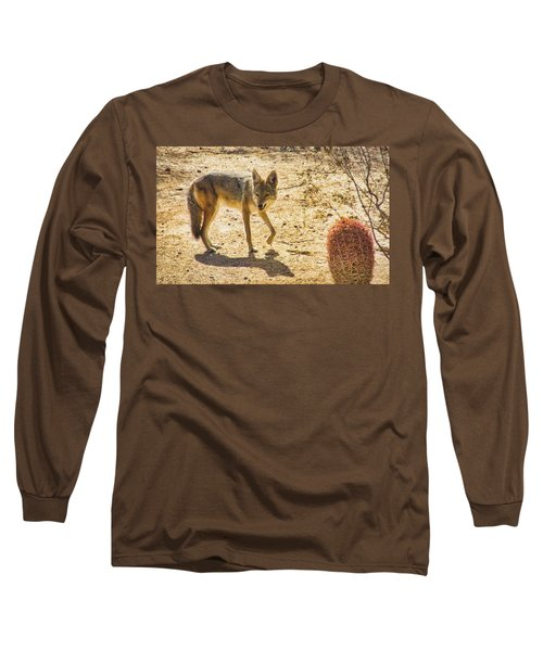 Young Coyote And Cactus Long Sleeve T-Shirt