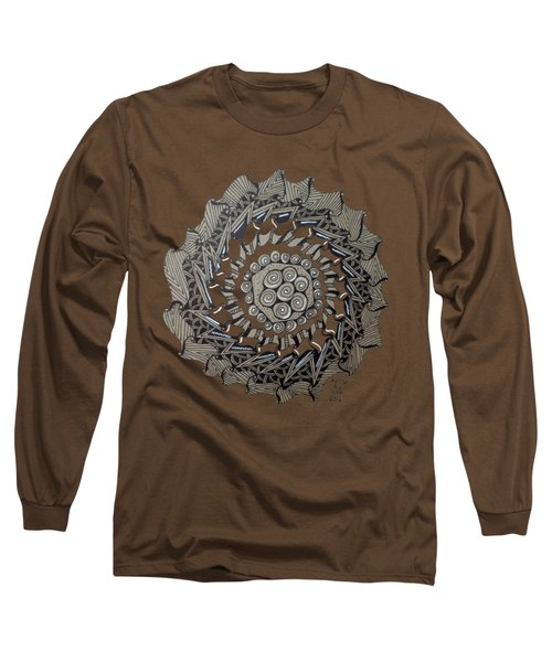 Zentangle Shield  Long Sleeve T-Shirt by Joyce Wasser