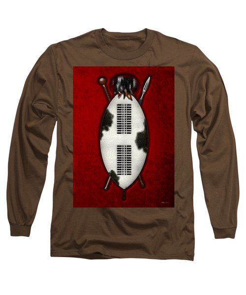 Zulu War Shield With Spear And Club Long Sleeve T-Shirt by Serge Averbukh