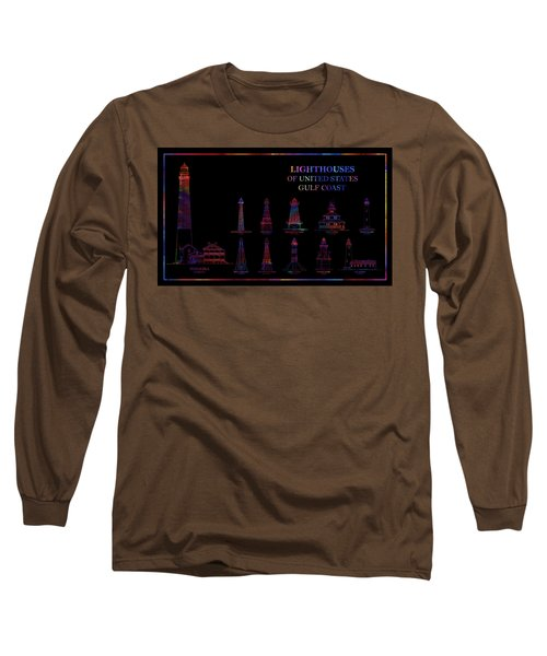 Lighthouses Of United States - Gulf Coast - Blueprint Drawing Long Sleeve T-Shirt