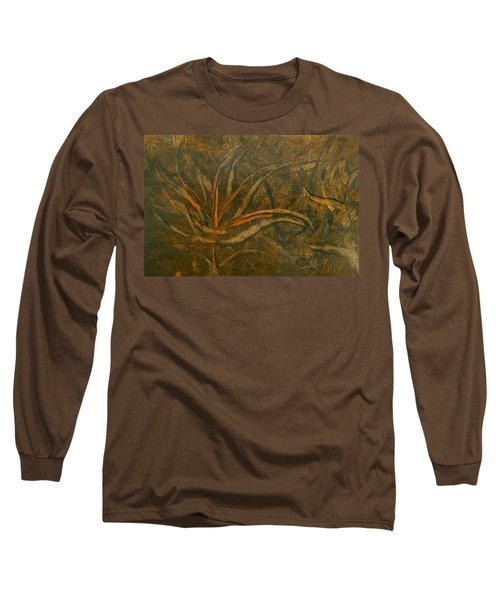 Abstract Brown/orange Floral In Encaustic Long Sleeve T-Shirt