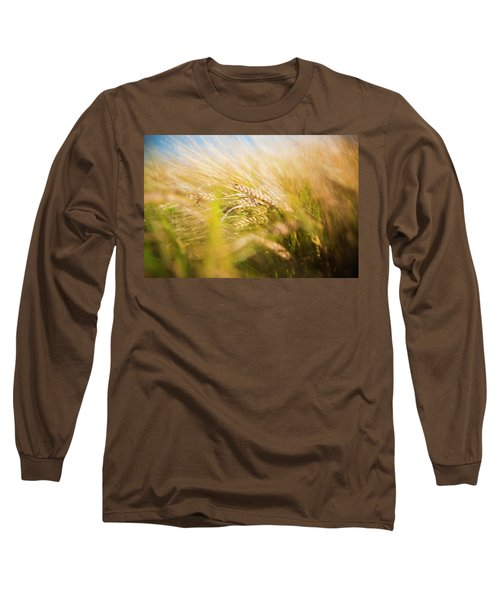 Background Of Ears Of Wheat In A Sunny Field. Long Sleeve T-Shirt