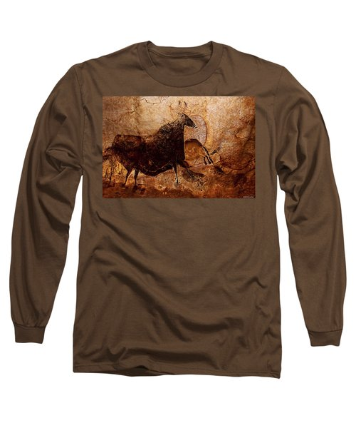 Black Cow And Horses Long Sleeve T-Shirt