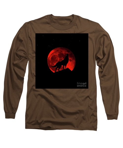Blood Red Wolf Supermoon Eclipse 873l Long Sleeve T-Shirt