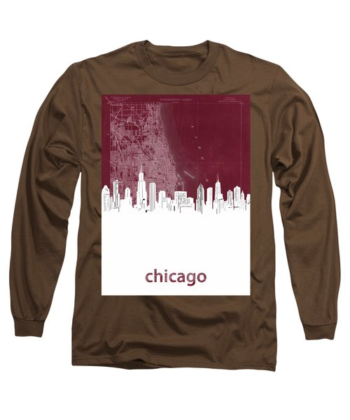 Chicago Skyline Map Red Long Sleeve T-Shirt