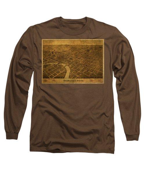 Columbus Ohio Vintage City Street Map 1872 Long Sleeve T-Shirt