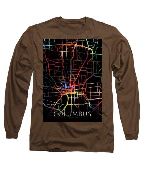 Columbus Ohio Watercolor City Street Map Dark Mode Long Sleeve T-Shirt