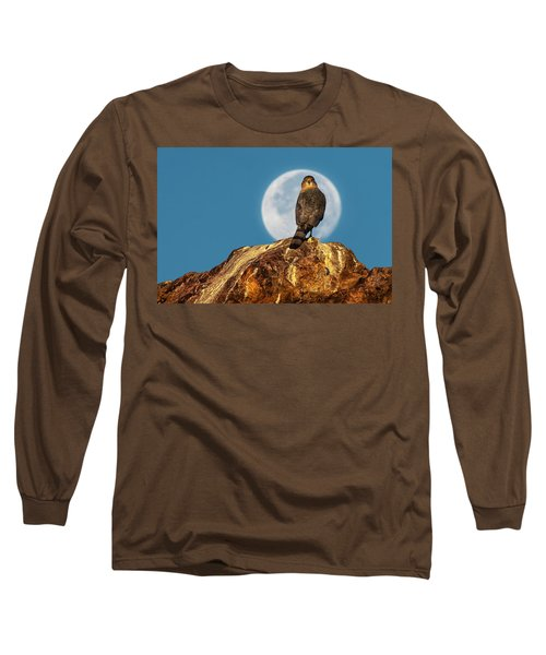 Coopers Hawk With Moon Long Sleeve T-Shirt