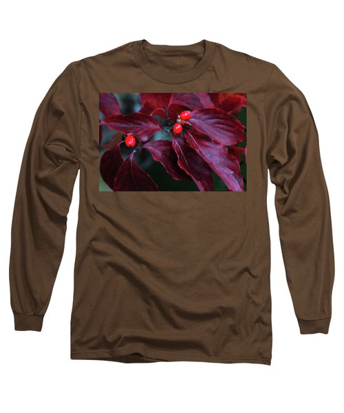 Long Sleeve T-Shirt featuring the photograph Dogwood Leaves In The Fall by Trina Ansel