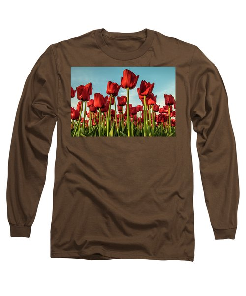 Long Sleeve T-Shirt featuring the photograph Dutch Red Tulip Field. by Anjo Ten Kate
