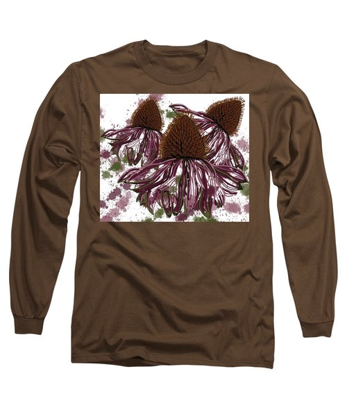 Echinacea Flowers Line Long Sleeve T-Shirt