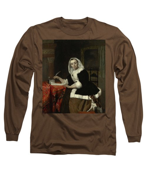 Elegant Lady Writing At Her Desk Long Sleeve T-Shirt